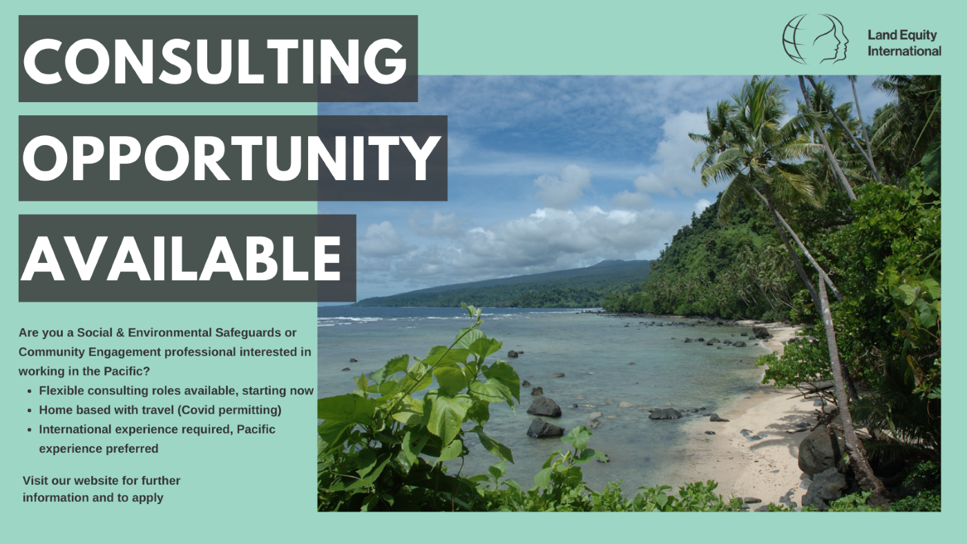 NEW POSITION: Social Safeguards and Community Engagement Consultant